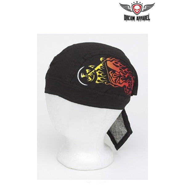best-motorcyle-vest - Cotton Skull Cap w/ Motorcycle in Flames Design 12pcs/pack - Club Vest Biker Motorcycle Apparel & Accessories - misc