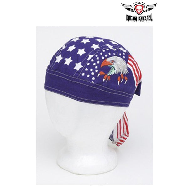 best-motorcyle-vest - Cotton Skull Cap with Eagle, Stars & Stripes 12 PACK - Club Vest Biker Motorcycle Apparel & Accessories - misc