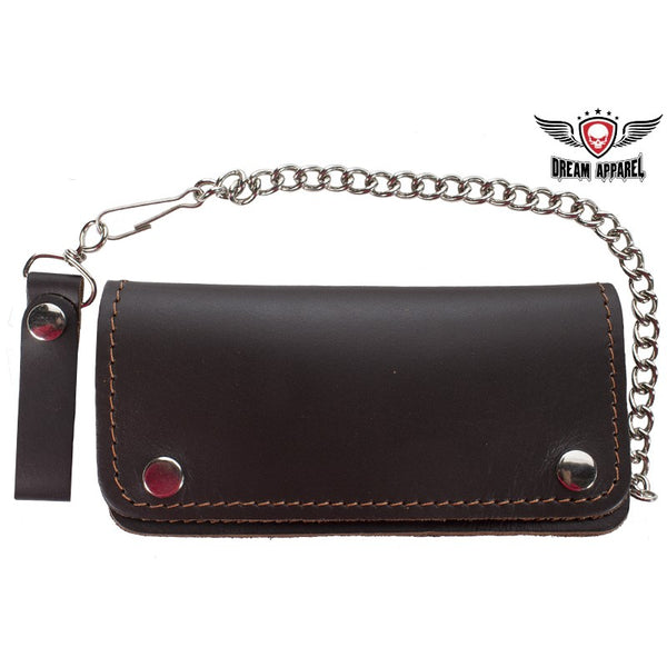 Premium Quality Brown Leather Bifold Motorcycle Chain Wallet