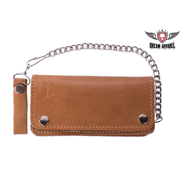 best-motorcyle-vest - Premium Quality Leather Tan Bifold Motorcycle Chain Wallet - Dream Apparel® - Wallets Chains Belt-loop Purses Bags and Hip-bags