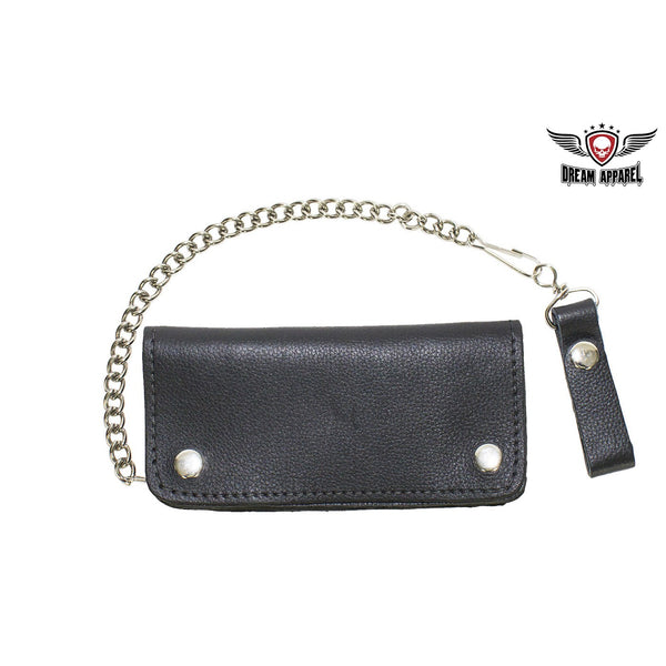 best-motorcyle-vest - Heavy Duty Black Leather Motorcycle Chain Wallet - Dream Apparel® - Wallets Chains Belt-loop Purses Bags and Hip-bags