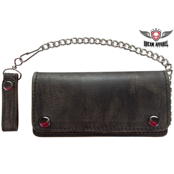 Distressed Brown Leather Bifold Motorcycle Chain Wallet - Club Vest Biker Motorcycle Apparel & Accessories