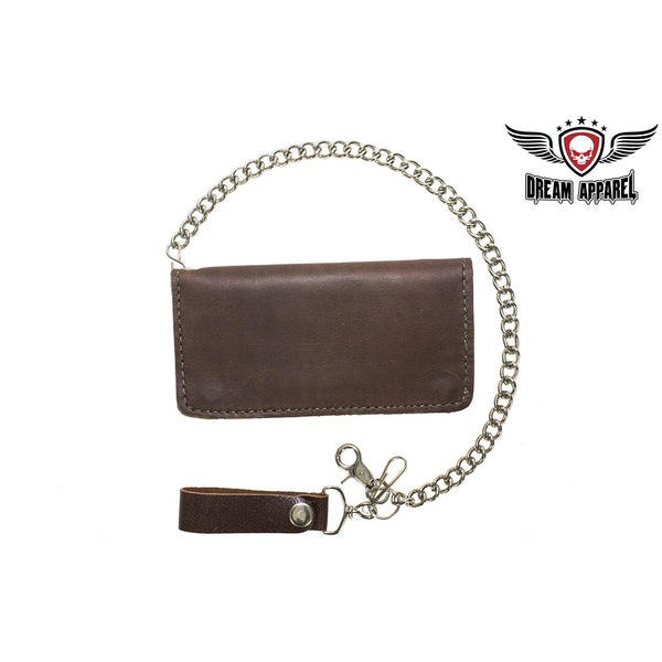 Heavy Duty Dark Brown Leather Chain Wallet - Club Vest Biker Motorcycle Apparel & Accessories