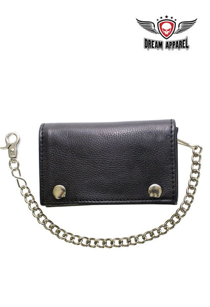Black Naked Cowhide Leather Trifold Chain Wallet W/ Snaps