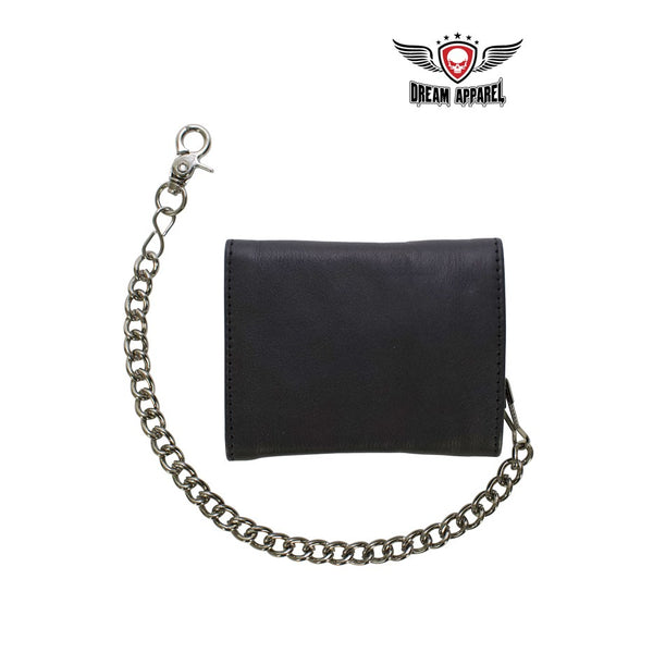 Black Multi-Pocket Naked Cowhide Leather Tri-Fold Wallet with Chain - Club Vest Biker Motorcycle Apparel & Accessories