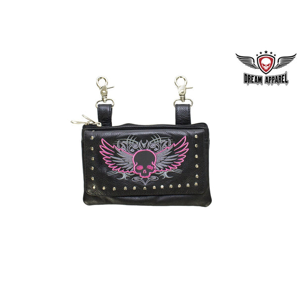 best-motorcyle-vest - Studded Naked Cowhide Leather Hot Pink Skull Belt Bag - Dream Apparel® - Wallets Chains Belt-loop Purses Bags and Hip-bags