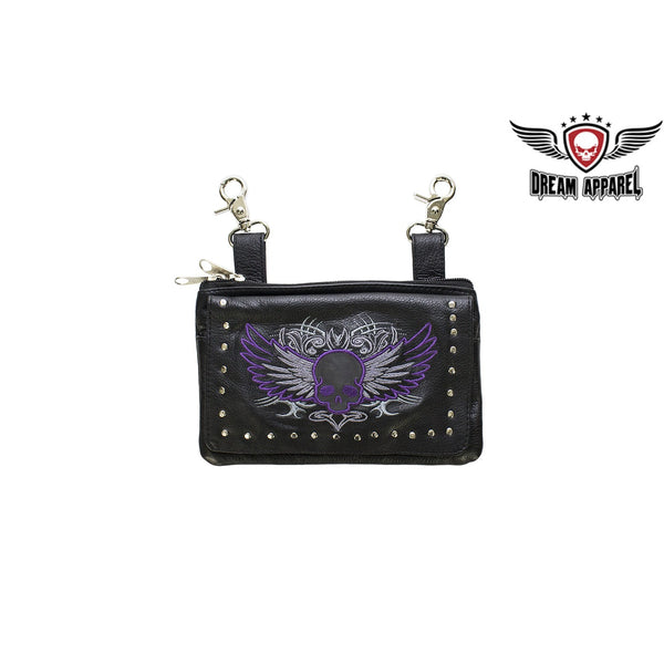 best-motorcyle-vest - Studded Naked Cowhide Leather Purple Skull Belt Bag - Dream Apparel® - Wallets Chains Belt-loop Purses Bags and Hip-bags