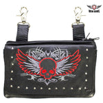 best-motorcyle-vest - Studded Naked Cowhide Leather Red Skull Belt Bag - Dream Apparel® - Wallets Chains Belt-loop Purses Bags and Hip-bags