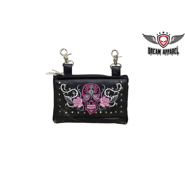 best-motorcyle-vest - Studded Hot Pink Sugar Skull Naked Cowhide Leather Belt Bag - Dream Apparel® - Wallets Chains Belt-loop Purses Bags and Hip-bags