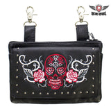 best-motorcyle-vest - Studded Red & White Sugar Skull Naked Cowhide Leather Belt Bag - Dream Apparel® - Wallets Chains Belt-loop Purses Bags and Hip-bags