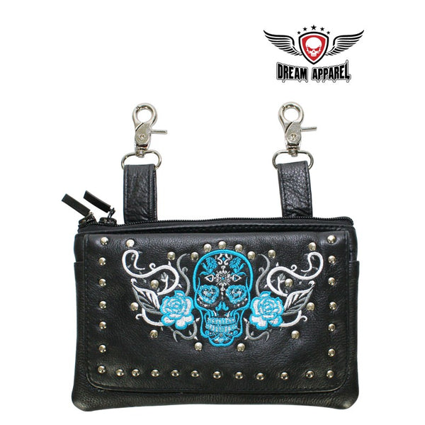 best-motorcyle-vest - Studded Turquoise & White Sugar Skull Naked Cowhide Leather Belt Bag - Dream Apparel® - Wallets Chains Belt-loop Purses Bags and Hip-bags