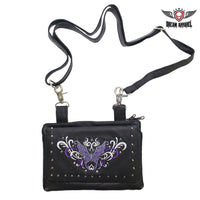 All Naked Cowhide Leather Purple Butterfly Belt Bag - Club Vest Biker Motorcycle Apparel & Accessories