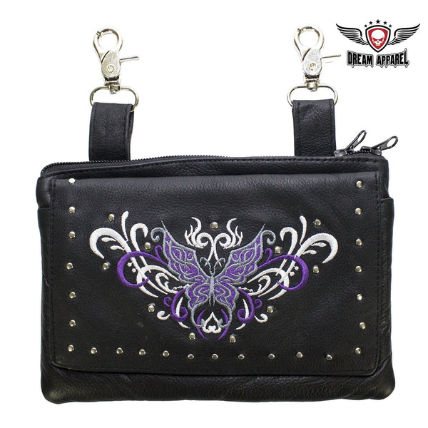 best-motorcyle-vest - All Naked Cowhide Leather Purple Butterfly Belt Bag - Dream Apparel® - Wallets Chains Belt-loop Purses Bags and Hip-bags