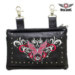 Studded Red & White Butterfly Naked Cowhide Leather Belt Bag