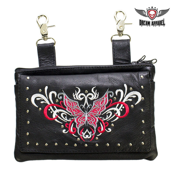 best-motorcyle-vest - Studded Red & White Butterfly Naked Cowhide Leather Belt Bag - Dream Apparel® - Wallets Chains Belt-loop Purses Bags and Hip-bags