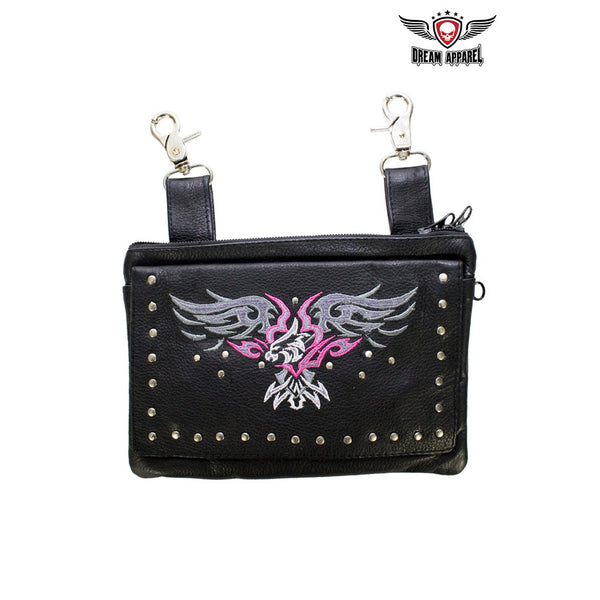 best-motorcyle-vest - All Naked Cowhide Leather Hot Pink Eagle Belt Bag - Dream Apparel® - Wallets Chains Belt-loop Purses Bags and Hip-bags