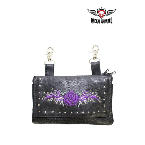 best-motorcyle-vest - Purple Rose All Naked Cowhide Leather Belt Bag - Dream Apparel® - Wallets Chains Belt-loop Purses Bags and Hip-bags