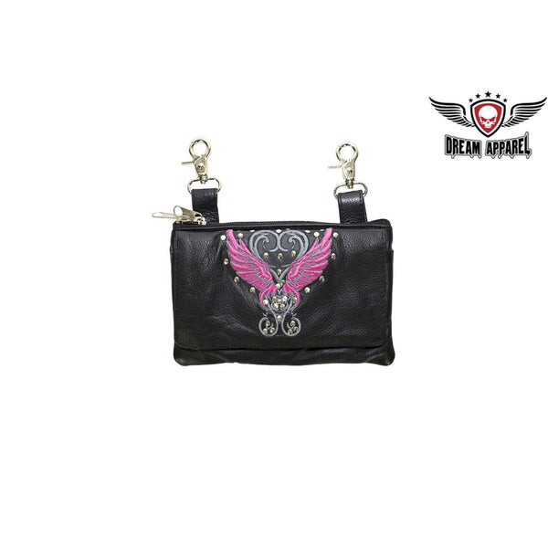 Studded Naked Cowhide Leather Belt Bag with Pink Wings