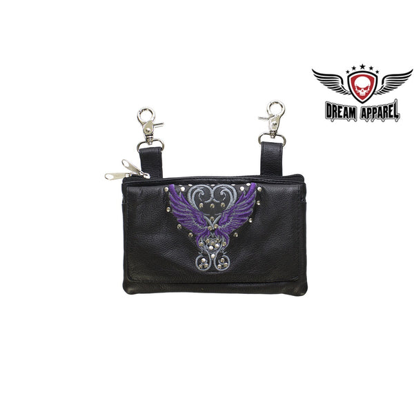 best-motorcyle-vest - Studded Naked Cowhide Leather Belt Bag with Purple Wings - Dream Apparel® - Wallets Chains Belt-loop Purses Bags and Hip-bags