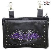 best-motorcyle-vest - Studded Naked Cowhide Leather CCW Holster Belt Bag with Purple & Silver Butterfly - Dream Apparel® - Wallets Chains Belt-loop Purses Bags and Hip-bags