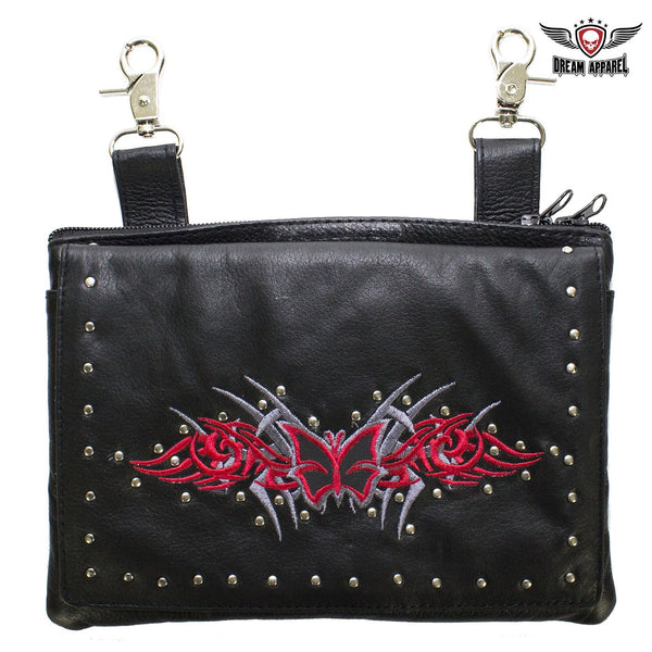 Studded Naked Cowhide Leather CCW Holster Belt Bag with Red & Silver Butterfly