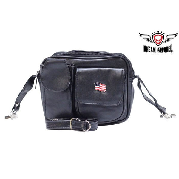 Womens PVC Bag with American Flag belt loop