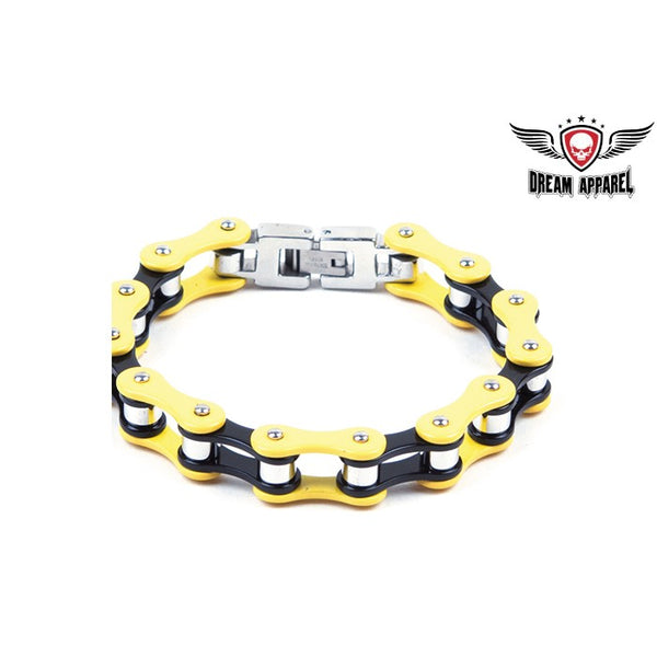 best-motorcyle-vest - Black & Yellow Stainless Steel Motorcycle Chain Bracelet - Biker Motorcycle Apparel & Clothing -