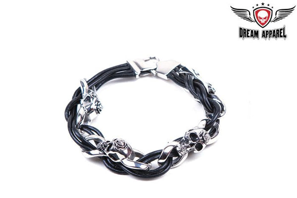 Stainless Steel Bracelet with Steel Skulls, Rose and Lace