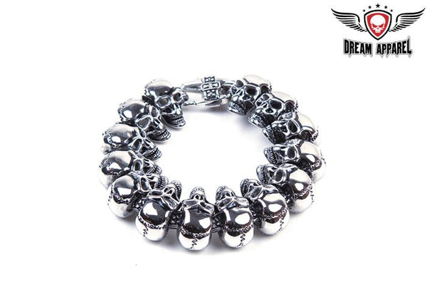Heavy Duty Stainless Steel Bracelet With Skulls