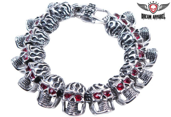 Stainless Steel Motorcycle Bracelet With Flaming Skulls & Ruby Eyes