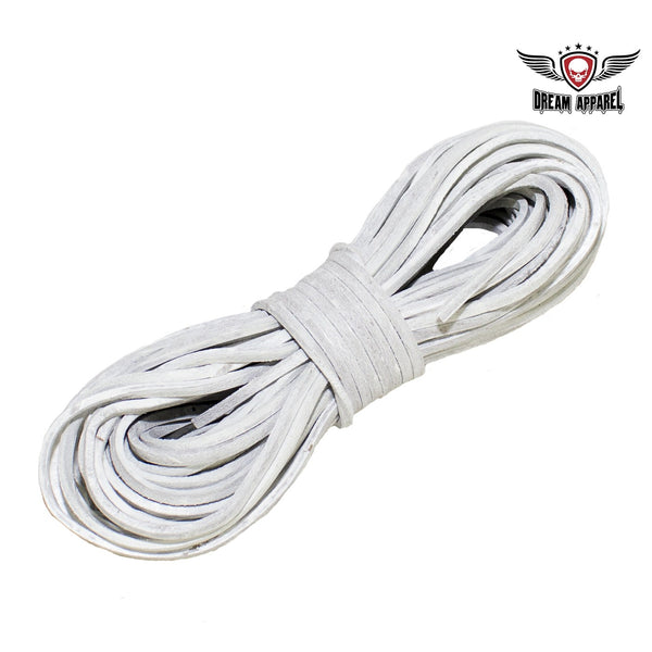 best-motorcyle-vest - 50 FT Leather Laces - White - Dream Apparel® - vest extenders
