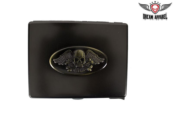 Metal Cigarette Case Skull and Wings