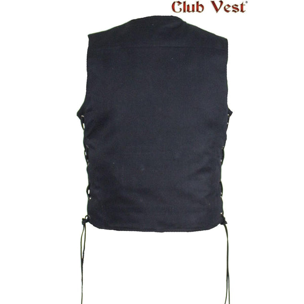 Mens Naked Leather Motorcycle Vest With Concealed Snaps Solid Back