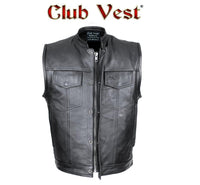 Club Vest ® Defender Dual Outside Access CCW Side Rocker MC Vest in Naked Cowhide - Club Vest Biker Motorcycle Apparel & Accessories