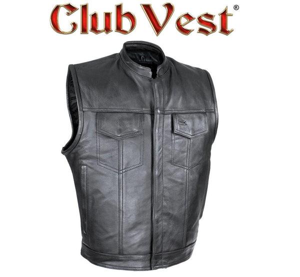 best-motorcyle-vest - Club Vest® Defender Dual Outside Access CCW Side Rocker MC Vest in Naked Cowhide - Club Vest® - Mens Best Motorcycle Vests