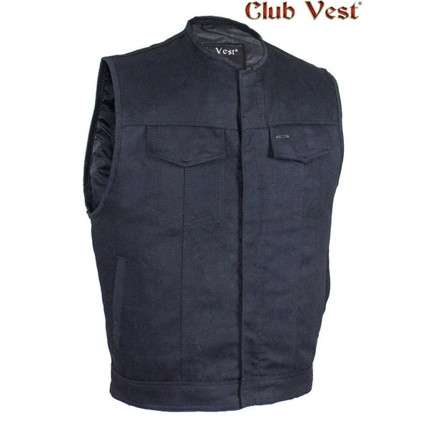 best-motorcyle-vest - Men's Black Denim CCW Pocket Vest by Club Vest® - Club Vest® - Mens Best Motorcycle Vests