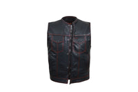 Club Vest, Mens Naked Cowhide Leather No Collar Red Stitching Motorcycle Vest