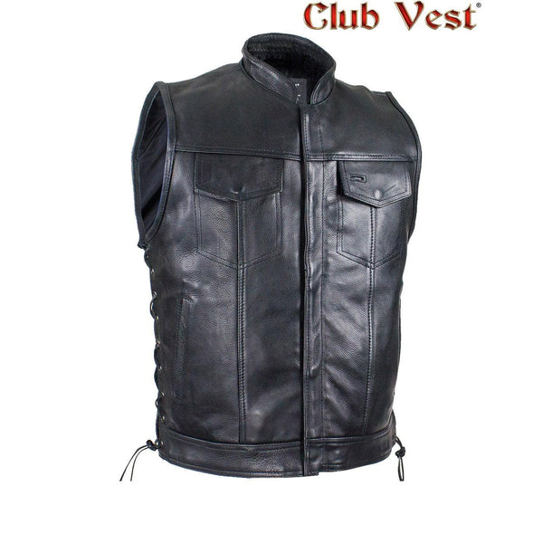 best-motorcyle-vest - Men's Naked Cowhide CCW Pocket With Jacket Zipper And Snap Vest by Club Vest® - Club Vest® - Mens Best Motorcycle Vests