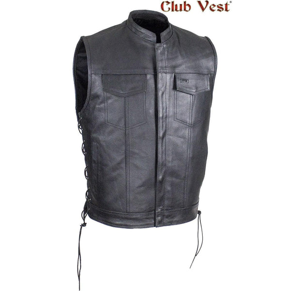 Men's Split Leather Dual CCW Pocket With Jacket Zipper And Snap Vest by Club Vest®