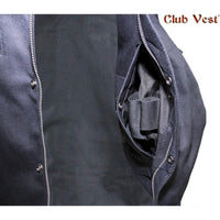 Men's Black Denim No Collar Dual CCW Vest by Club Vest®
