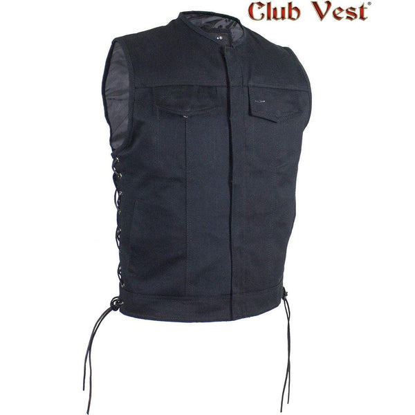 best-motorcyle-vest - Men's Black Denim No Collar Dual CCW Vest by Club Vest® - Club Vest® - Mens Best Motorcycle Vests