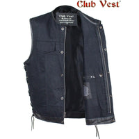 best-motorcyle-vest - Men's Black Denim Dual Concealed Carry Side Lace Motorcycle MC Vest By Club Vest® - Club Vest® - Mens Best Motorcycle Vests
