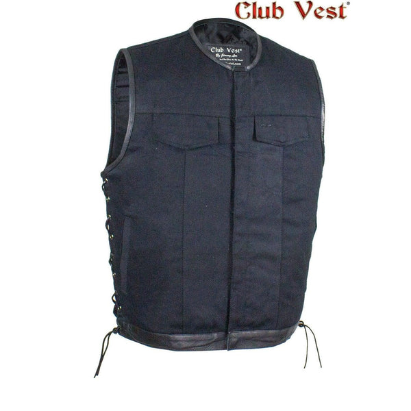 Men's Black Denim Dual Concealed Carry Side Lace Motorcycle MC Vest By Club Vest®