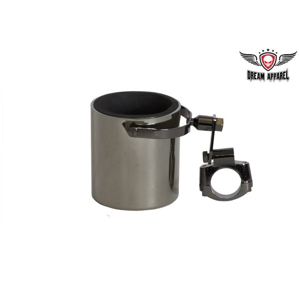 Black Chrome Motorcycle Cup Holder - Club Vest Biker Motorcycle Apparel & Accessories