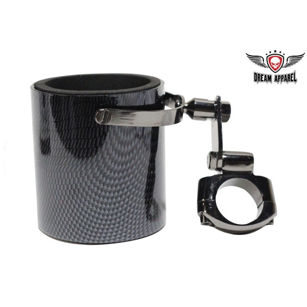 best-motorcyle-vest - Carbon Fiber Look Motorcycle Cup Holder - Club Vest Biker Motorcycle Apparel & Accessories - cup holder