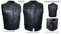 Club Vest Defender Dual Outside Access CCW MC Vest in Naked Cowhide No Collar