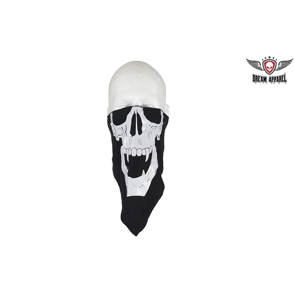 Skull with Fangs Cotton Face Biker Mask