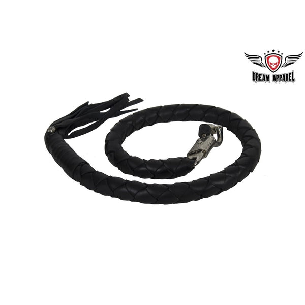 "3"" Fat 42"" Long Black Get Back Whip for Motorcycles - Club Vest Biker Motorcycle Apparel & Accessories"