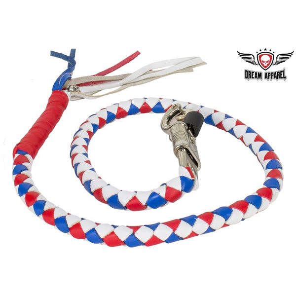 best-motorcyle-vest - Red, White & Blue Get Back Whip For Motorcycles - Biker Motorcycle Apparel & Clothing - get back whip