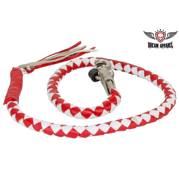 best-motorcyle-vest - Red & White Get Back Whip For Motorcycles - Biker Motorcycle Apparel & Clothing - get back whip